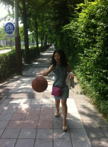 Hyo Driblling the basketball