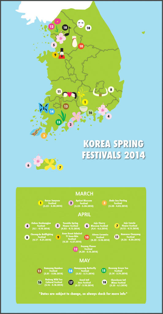Spring and Summer Festivals in Korea Map Graphic