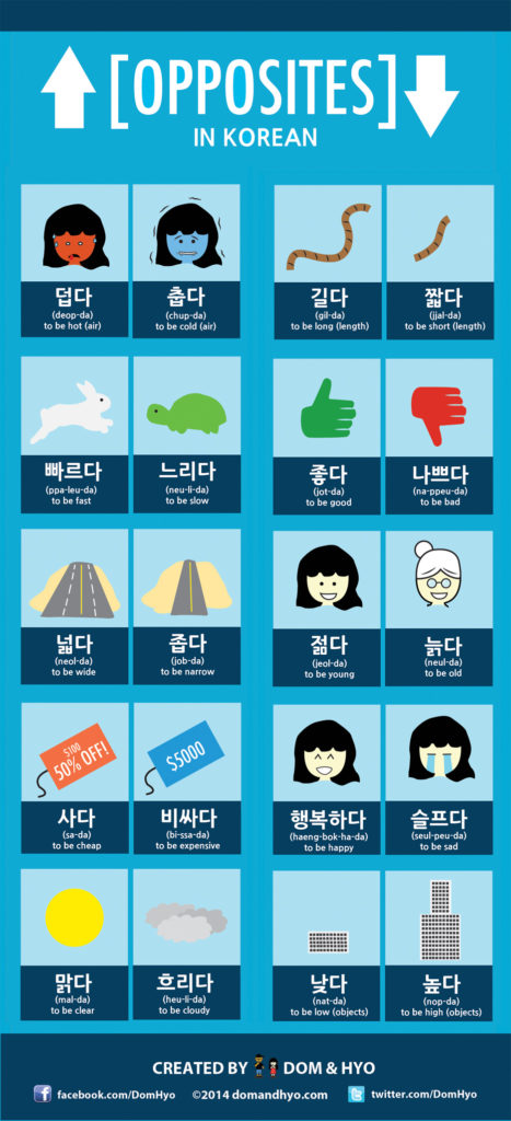 Infographic: Opposites in Korean