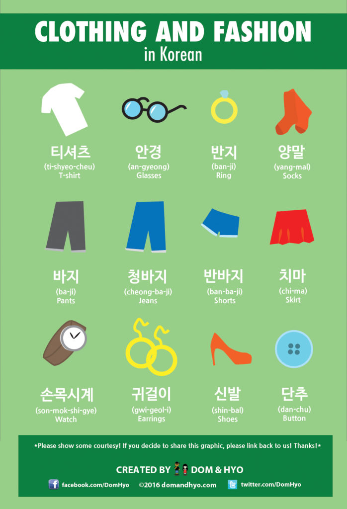 clothing vocabulary in korean