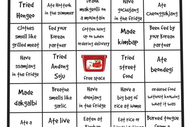 Korean Food & Drink Bingo