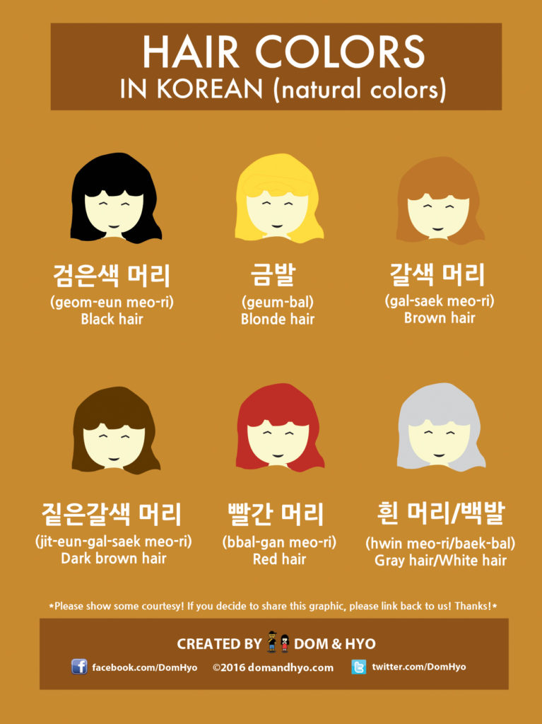 Hair color vocabulary in korean