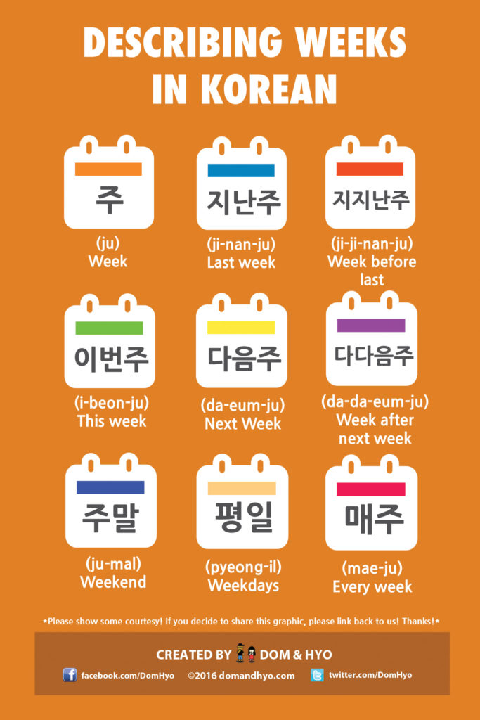 Describing weeks in korean