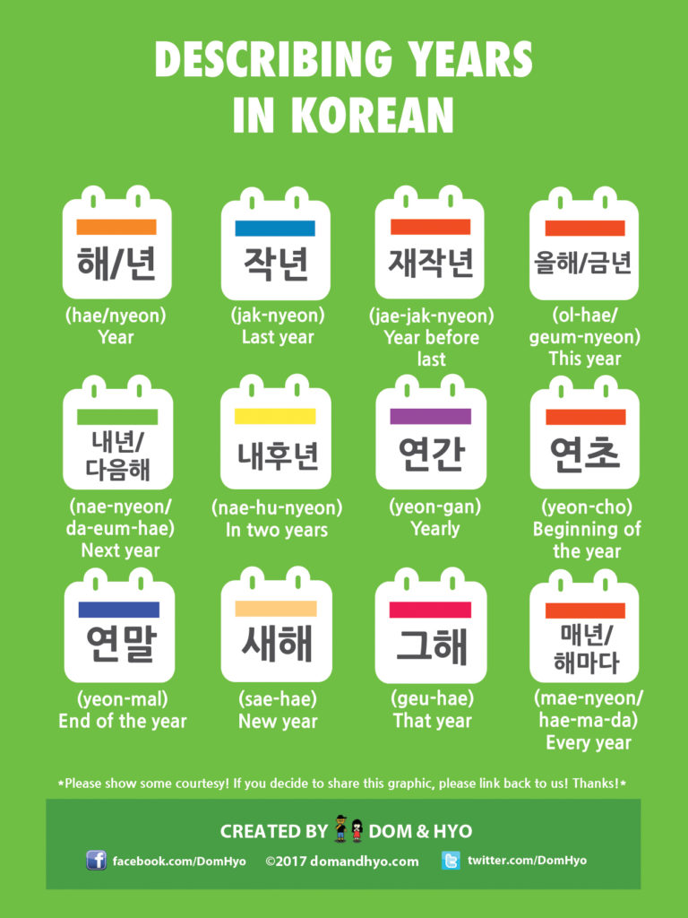 years in korean, korean vocabulary, korean words