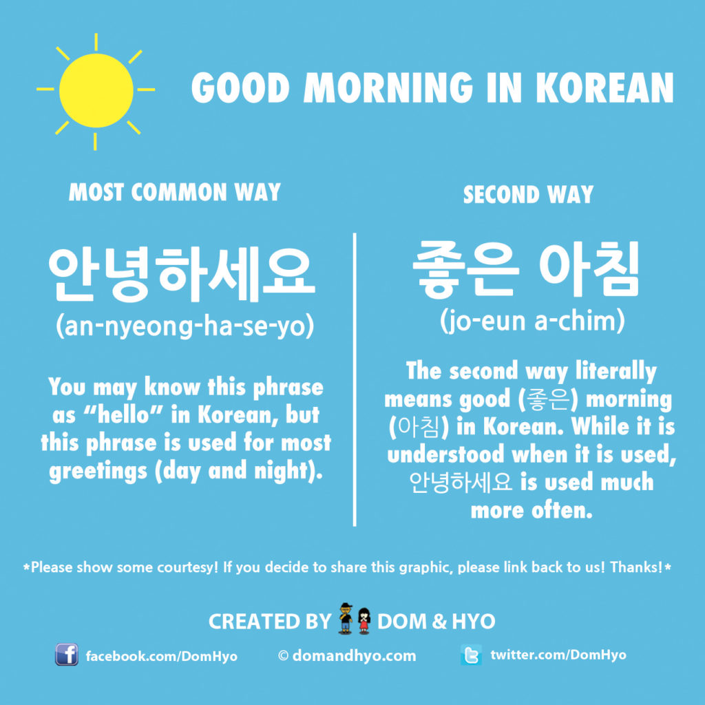 How To Say Good Morning In Korean Learn Basic Korean Vocabulary