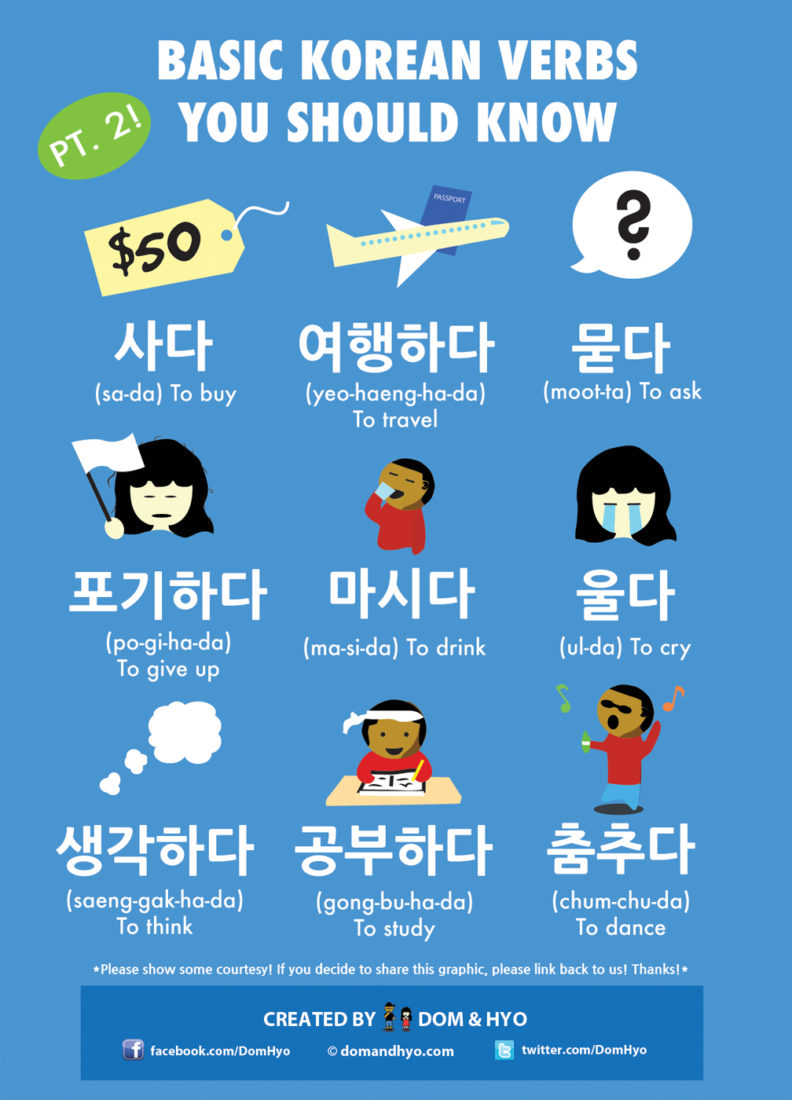 Basic Korean Verbs Pt. 2
