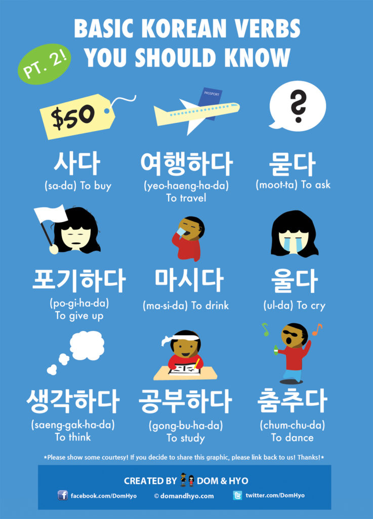 Basic Korean Verbs You Should Know  Pt 2