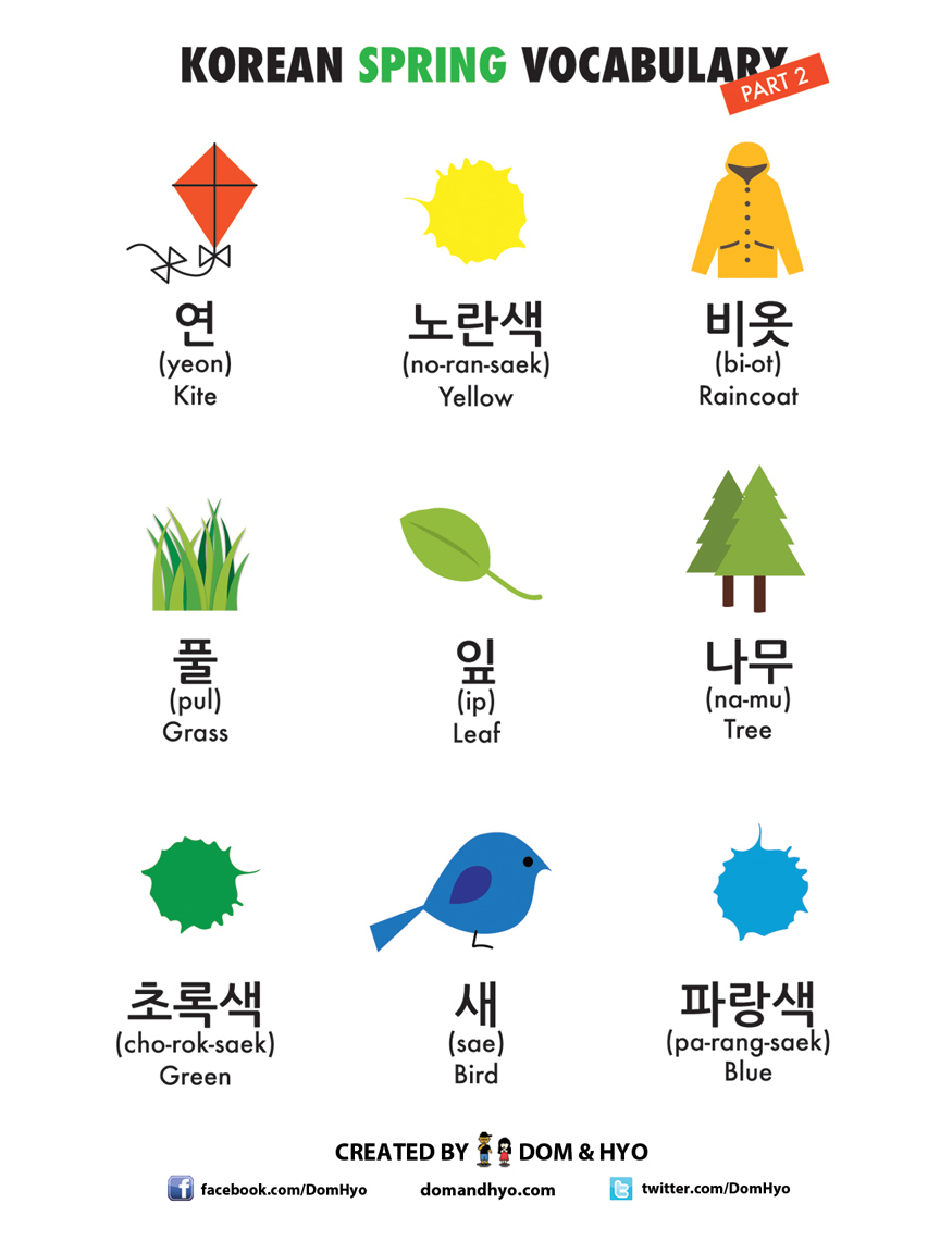 Spring Vocabulary in Korean Part 2
