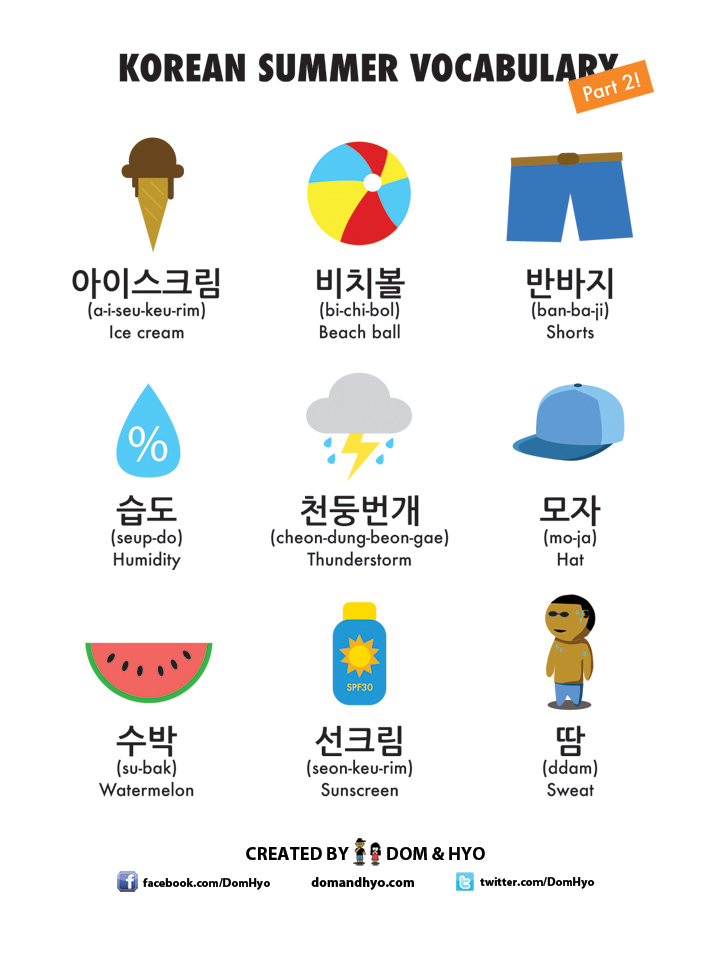 Summer Vocabulary in Korean Part 2