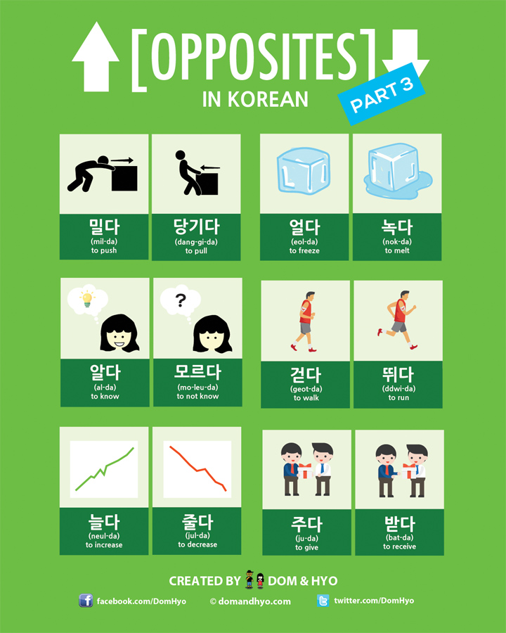 Opposite Words in Korean Part 3 – Learn Useful Verbs and Their Opposite Counterparts