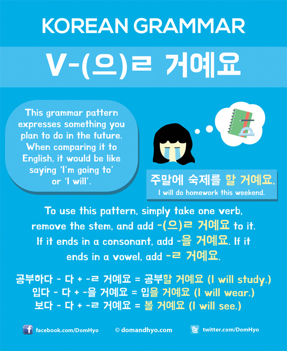 Korean Grammar 을 거예요